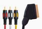 Шнур СКАРТ штекер - 3xRCA (тюльпан) штекера 1.5м (пластик-золото) Аудио Стерео-Вх, Видео-Вх 3xD4мм (ПВХ-Упаковка)