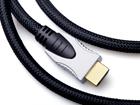 Шнур HDMI штекер - HDMI штекер, HIGH SPEED with Ethernet, 2 феррита, D8.5мм (никель-золото, сетка нейлон)
