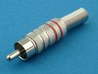 RCA (тюльпан) штекер, на кабель (никель, 2 красные полосы)