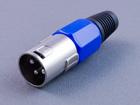 XLR 3P штекер микрофонный, на кабель (пластик-никель)