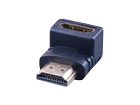 HDMI штекер - HDMI гнездо угловой (пластик-золото)