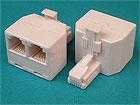Переходник телефонный (в линию) RJ11 (6P4C) ШТЕКЕР - 2хRJ11 (6P4C) ГНЕЗДА (пластик)