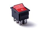 Перекидной электро переключатель (ON-ON), Черно-красный, 6 контактов, 250V, 20A, подсветка (бытов.)