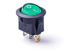 Перекидной электро переключатель (ON-OFF), Зеленый, 3 контакта, 250V, 6.5A, подсветка (бытов.)