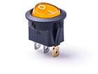 Перекидной электро переключатель (ON-OFF), Желтый, 3 контакта, 250V, 6.5A, подсветка (бытов.)