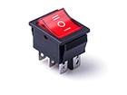 Перекидной электро переключатель (ON-OFF-ON), Черно-красный, 6 контактов, 250V, 15A, подсветка (бытов.)