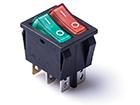Перекидной электро переключатель (ON-OFF) Красный-зеленый, 4 контакта, 250V, 15A, подсветка (бытов.)