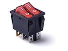 Перекидной электро переключатель (ON-OFF) Красный-красный, 4 контакта, 250V, 15A, подсветка (бытов.)