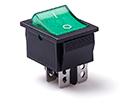 Перекидной электро переключатель (ON-OFF) Черно-зеленый, 4 контакта, 250V, 15A, подсветка (бытов.)