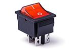 Перекидной электро переключатель (ON-OFF) Черно-красный, 4 контакта, 250V, 15A, подсветка (бытов.)