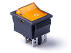 Перекидной электро переключатель (ON-OFF) Черно-желтый, 4 контакта, 250V, 15A, подсветка (бытов.)